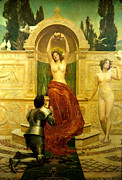 Religious Art Digital Art Prints - In the Venusberg Tannhauser Print by John Collier