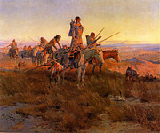The American Buffalo Framed Prints - In The Wake of the Buffalo Hunters Framed Print by Charles Russell