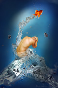 Male Greeting Cards Posters - In The Water Poster by Mark Ashkenazi