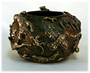 Golden Reliefs - In the Wild Bronze Bowl - second view by Dawn Senior-Trask