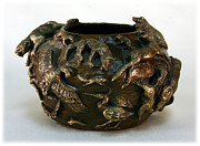 Mountain Lion Reliefs - In the Wild Bronze Bowl - view three by Dawn Senior-Trask