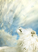 White Lion Posters - In The Wild Wind Poster by Carol Cavalaris