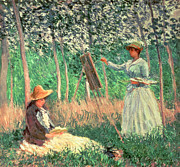 Plein Air Artist Posters - In the Woods at Giverny Poster by Claude Monet