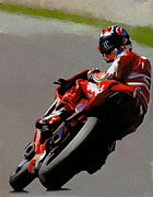 David Pucciarelli Collectible Art Drawings - In Victory Casey Stoner by Iconic Images Art Gallery David Pucciarelli