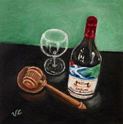 Wine Bottle Paintings - In Vino Veritas 2 by Victoria Lakes