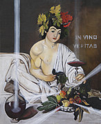 Italian Wine Paintings - In Vino Veritas after Caravaggios Baccus by Erin Brinkman
