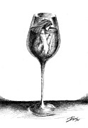 Glass Drawings - In Vino Veritas by Boyan Donev