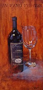 Red Wine Painting Originals - In Vino Veritas by Laura Lee Zanghetti