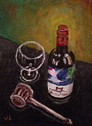 Wine Glass Paintings - In Vino Veritas by Victoria Lakes