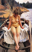 Row Boat Digital Art Prints - In Werners Rowing Boat Print by Anders Zorn
