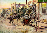 Cowboy Art Digital Art Posters - In Without Knocking Poster by Charles Russell