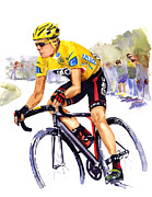 Tour De France Paintings - In Yellow by Shirley  Peters