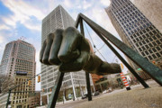 City Tapestries Textiles Originals - In Your Face -  Joe Louis Fist Statue - Detroit Michigan by Gordon Dean II