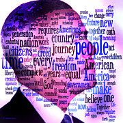 Barack Obama Digital Art Posters - Inaugural 2013 Word Art Poster by Dyana  Jean