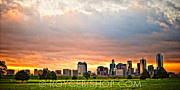 Downtown Digital Art Originals - Incandescent Skyline by Royce Bishop