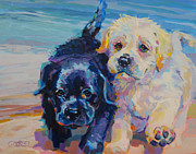 Black Lab Puppy Paintings - Incoming by Kimberly Santini