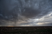 Horizon Wind Framed Prints - Incoming Storm Over A Cotton Field Framed Print by Melany Sarafis