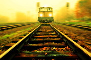 Rail Line Prints - Incoming train Print by Jaroslaw Grudzinski