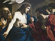 Incredulity Metal Prints - Incredulity of st Thomas by il Guercino Metal Print by Stefano Baldini