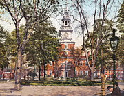 Philadelphia Scene Art - Independence Hall 1900 by Unknown