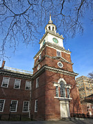 Hall Photo Prints - Independence Hall Bell Tower Print by Olivier Le Queinec