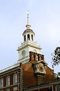 Cupula Prints - Independence Hall Clocks Print by Sally Weigand