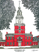 Buildings Drawings Drawings Framed Prints - Independence Hall Framed Print by Frederic Kohli