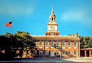 Clock Pyrography Posters - Independence Hall Poster by Harry Lamb