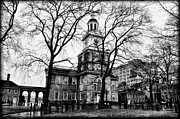 Independence Hall Digital Art Prints - Independence Hall in Black and White Print by Bill Cannon
