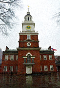 Independence Hall Digital Art Prints - Independence Hall in Philadelphia Print by Bill Cannon