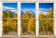 Picture Window Frame Photos Art - Independence Pass Autumn White Peeling Window View by James Bo Insogna