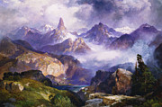 Cloudy Day Paintings - Index Peak Yellowstone National Park by Thomas Moran