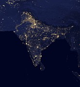 India At Night Satellite Image Print by Nasa