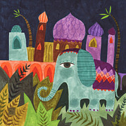 Kids Art Drawings Posters - India Elephant Poster by Kate Cosgrove