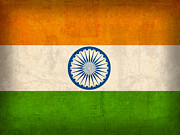 India Art - India Flag Vintage Distressed Finish by Design Turnpike