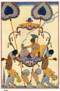 Ancient Woman Framed Prints - India Framed Print by Georges Barbier