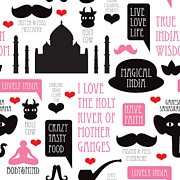 Moustache Digital Art Prints - India icons illustration Print by Little Smilemakers Studio