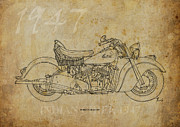 Bicycle Drawings - Indian Chief 1947 by Pablo Franchi