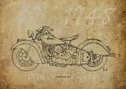Bike Drawings - Indian Chief 1948 by Pablo Franchi