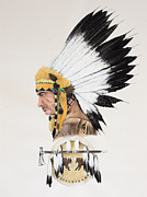 American Bison Drawings Prints - Indian Chief contemplating Print by Joe Lisowski