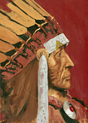 Old West Prints - Indian Chief Print by Luis  Navarro