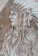 Portrait Pyrography Framed Prints - Indian Chief Framed Print by Vera White