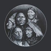 Pencil Native American Drawings - Indian Chiefs by Barry Mckay