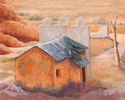 Southwest Landscape Pastels Metal Prints - Indian Cliffs Church Metal Print by Candy Mayer
