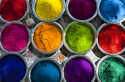 Color Photo Prints - Indian Coloured Powder Bowls Print by Tim Gainey