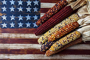 Harvest Art Photo Framed Prints - Indian Corn On American Flag Framed Print by Garry Gay