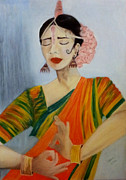 Fabric Pastels Prints - Indian Dancer Print by Serran Dalmak