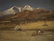 Famous Artists - Indian Encampment - Evening by Albert Bierstadt