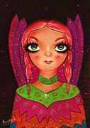 Long Pastels Framed Prints - Indian Fairy Framed Print by Anastasis  Anastasi
