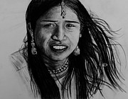 Earrings Drawings Prints - Indian Girl Print by Caroline  Reid